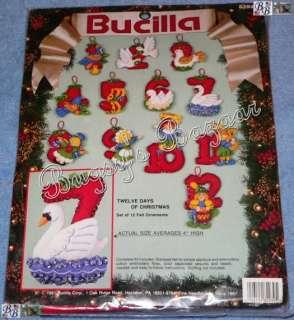 Bucilla 12 TWELVE DAYS OF CHRISTMAS Felt Ornaments Kit
