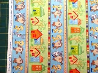 New Baby Looney Tunes Stripe Fabric BTY Bugs Bunny Taz Tweety Bird VIP