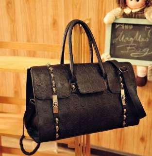 Womens Cool Skull Studded Shoulder Messenger Bags Handbag Purse Black