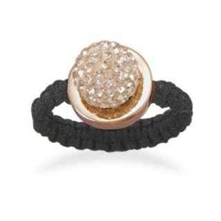 Macrame Rose Gold Sterling Champagne Crystal Ring Sz 7