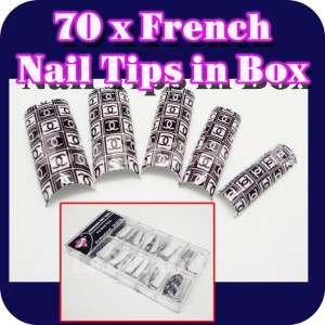 French Tips Acrylic Nail Art in Box   Black Double C LA260