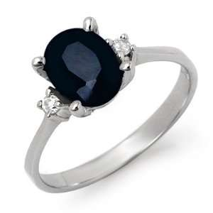 Genuine 2.33 ctw Sapphire & Diamond Ring 10K White Gold