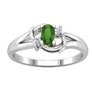 14K White Gold Tsavorite (Green Garnet) and Diamond Ring