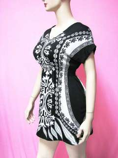 Women Summer Clothing Black & White Tunic Shirt Top XL