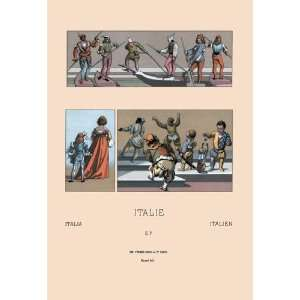 Venetian Gondoliers Pages Dwarves and Court Jesters 24x36 Giclee