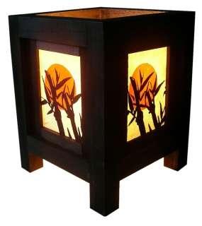 LOVELY MINI ASIAN ORIENTAL BAMBOO MOON WHITE TABLE LAMP
