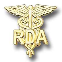 quality hand crafted gold plated Registered Dental Assistant RDA Pin