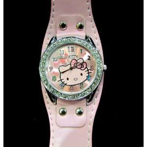 Hello Kitty Watch (PINK Wide Band) Watch with Rhinestone