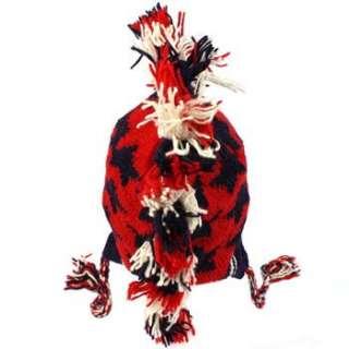Wool Winter USA Flag Mohawk Knit Fringe Fleece Lined Trapper Ski Cap