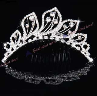 Princess Bride Oblique Crown Crystal Leaf Shape Rhinestone Tiara Hair