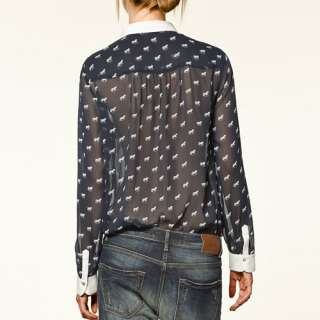 Fashion New 2012 Spring Trf Horse Print Chiffon Women Print Shirt