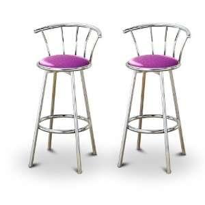 Purple Glitter Vinyl Chrome Swivel Bar Stool Barstools