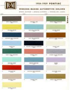 1958 PONTIAC PAINT COLOR SAMPLE CHIPS CARD OEM COLORS