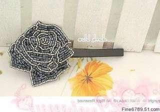 Lots Fashion 12Pcs Rose Flower Bead Metal Hair Clips Barrettes
