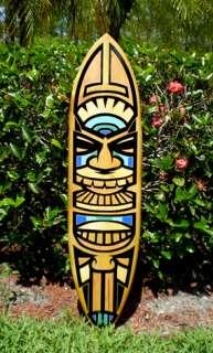 Tiki Blues Original Wood Surfboard Wall Art Beach Decor