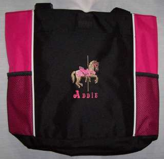 Carousel Horse Pink Tote Diaper Baby Bag PERSONALIZED