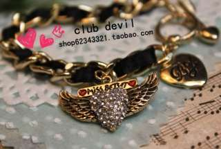 European Style Gold Color Angel Wing Cool Bracelet Z286