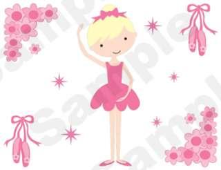 BALLERINA BABY NURSERY GIRL WALL STICKERS DECALS BORDER