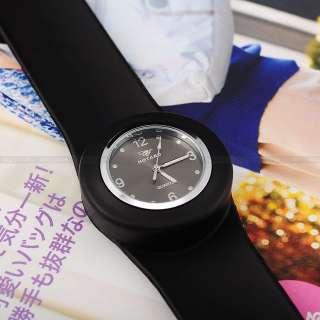 / Slap On Black Silicone Boys Girls Sport Wrist Quartz Watch