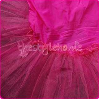 Girls Fairy Party Leotard Ballet Costume Tutu Dress Skirt 4 5T