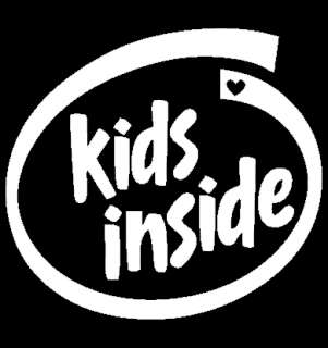 KIDS INSIDE White INTEL SPOOF Baby Children Car Sticker
