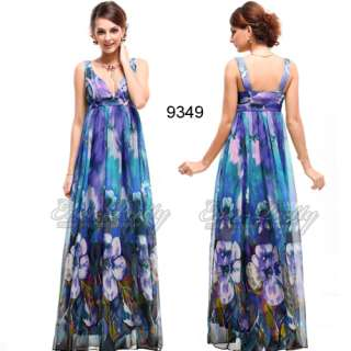 Purples Floral Printed Chiffon Long Prom Dress 09349 US Size 6