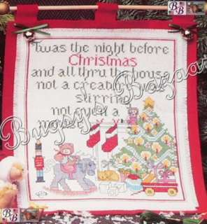 NIGHT BEFORE CHRISTMAS Sampler Counted Cross Stitch Wall Hanging Kit