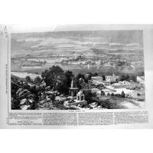 1868 VIEW BHOPAL CENTRAL INDIA BUILDINGS OLD PRINT