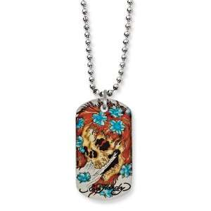 Steel Designers Big Ghost Painted Dog Tag 24in Necklace Jewelry