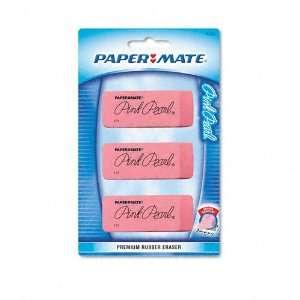 Paper Mate  Pink Pearl Eraser, Large, Three per Pack