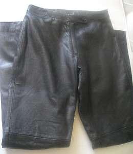 BCBG MAX AZRIA BLACK LEATHER WOMEN FLAT PANTS boot leg SIZE 0 mint