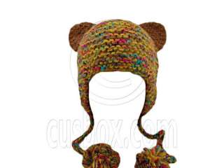 Color Beanie Lovely Ears Shape Girls Earflaps Braids Poms NEW Warm
