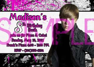 Justin Bieber Birthday Party Invitations 4 STYLES