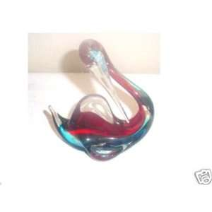Large Red & Blue Glass Bird