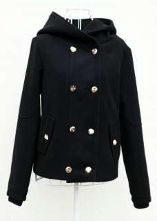 Korea Fashionable Women Brown Black Hooded Coat Jacket Jackets