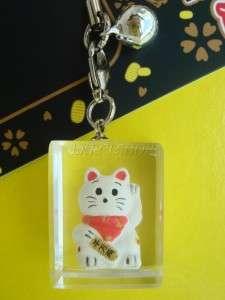 MANEKI NEKO LUCKY CAT CELLPHONE STRAP CHARM BELL DANGLE