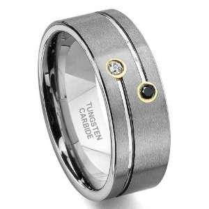 TAO Tungsten Carbide Gold Black & White Diamond Wedding Band Ring Sz