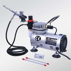 Dual Action Airbrush Kit Air Compressor with 3 Needles