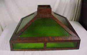PERIOD PRAIRIE SCHOOL QUARTERED OAK & GREEN GLASS 24 LAMP SHADE