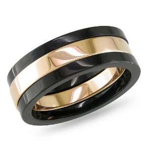 Stainless Steel Mens Ring Black and Rose Gold Plating Jewelry