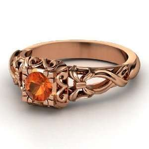Ribbon Lace Ring, Round Fire Opal 14K Rose Gold Ring Jewelry