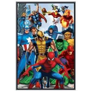 Marvel Comics Superheroes Poster in Black Metal Frame
