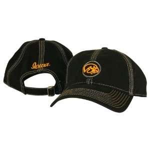 of Iowa Hawkeyes Black Stitch Adjustable Hat