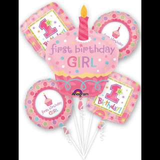 Cupcake 1st Birthday Girl Balloon Bouquet Party kit set