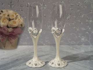 pc TWO BECOME ONE HEART Wedding Cake Kinfe Sever Toasting Flute