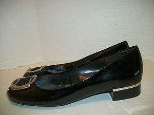 Womens Size 8.5M Franco Sarto Black Patent Flats Opera