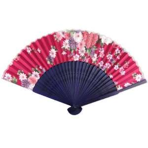 Silky Satin Fabric   Perforated Blue Tint Wood Hand Held Folding Fan
