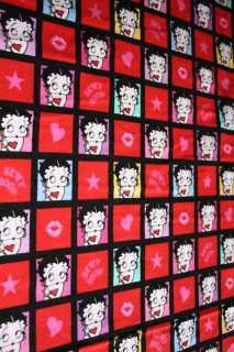 BETTY BOOP CHECKED HEARTS COTTON FLANNEL FABRIC OOP