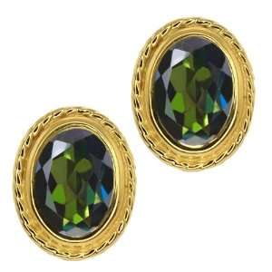 Green Mystic Topaz Gold Plated Silver Stud Earrings Jewelry