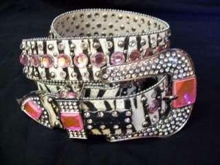 BHW Pink Zebra Print Western Cowgirl Rhinestone Belt Hair On Size S M